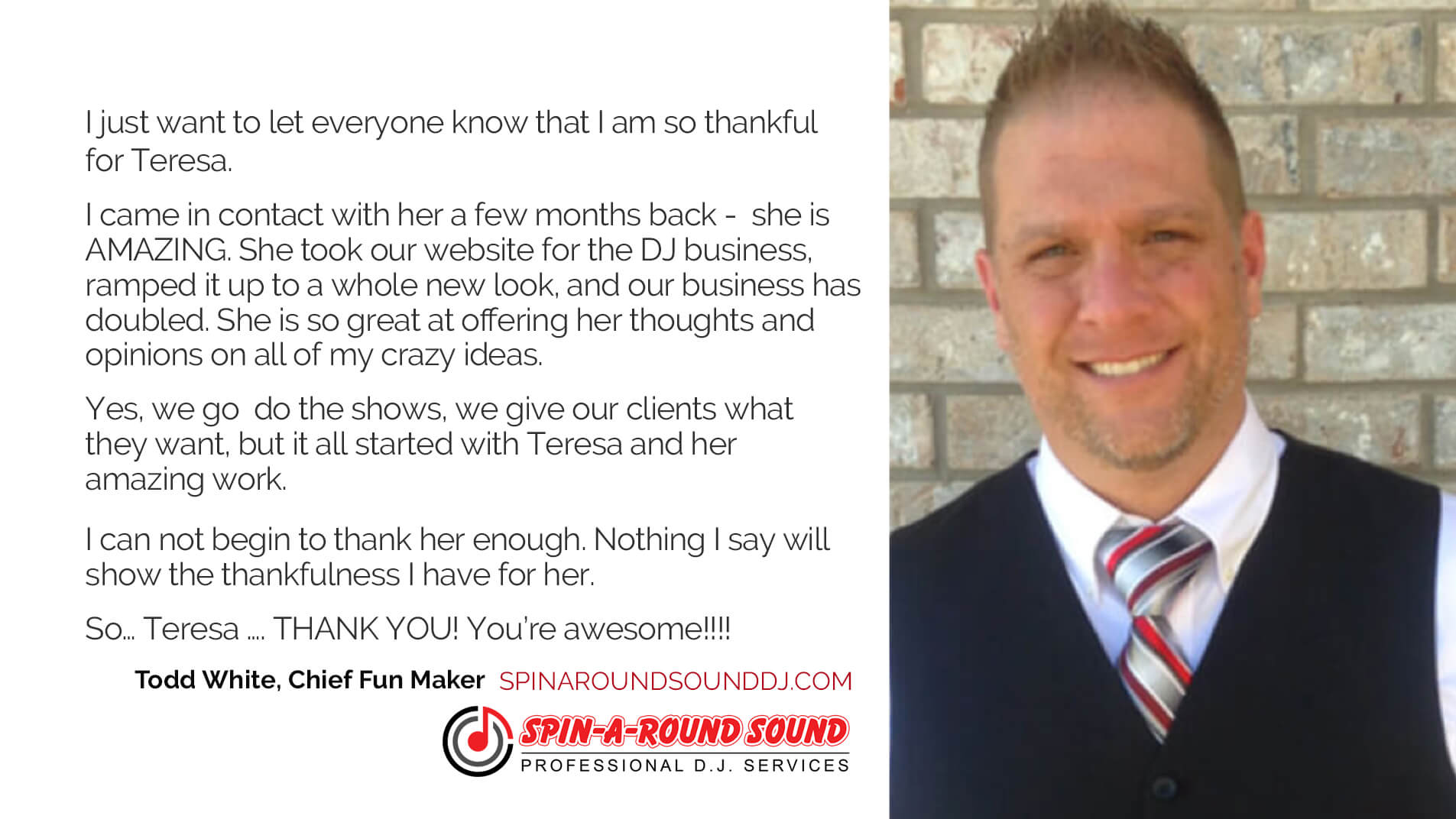 Testimonial from Spin-A-Round Sound DJ